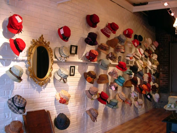The brick wall with half the hat display there is now and no furniture. Opening day 2006