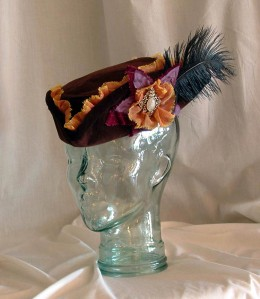 Brown velvet tricorn